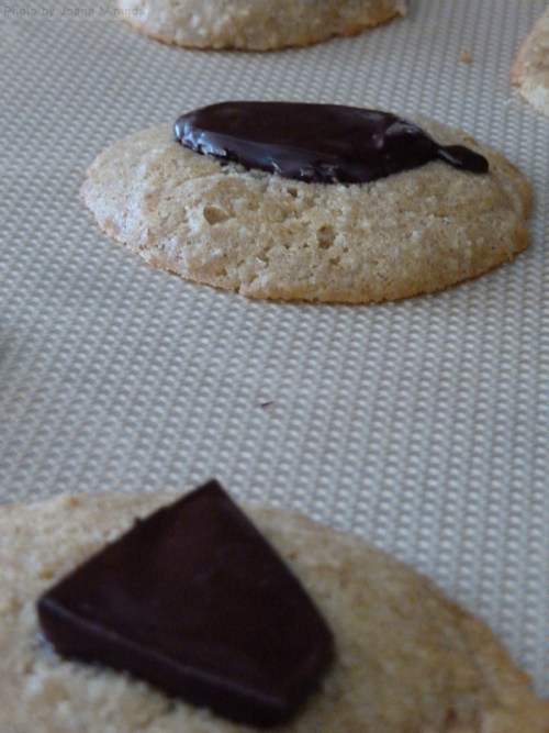 cookies with melted chocolate