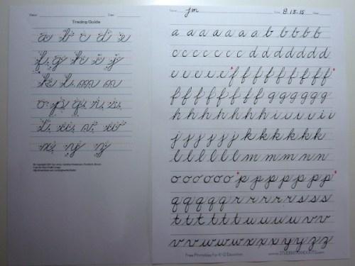 cursive lower letters practice