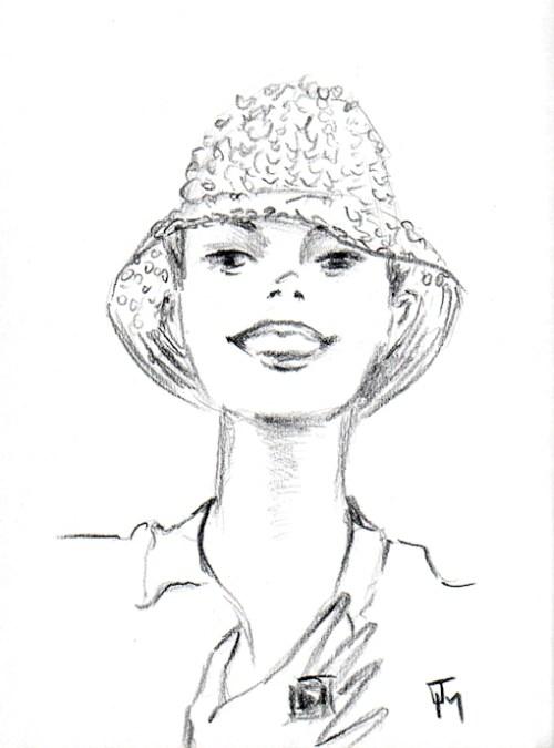 girl in crocheted hat