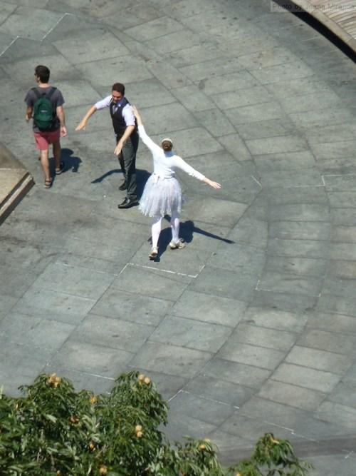 pair of dancers on Columbus Circle
