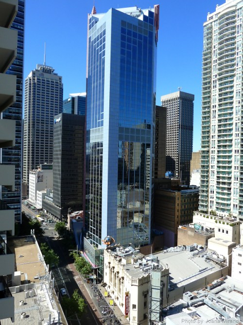 Photo of the skyscrapers near our 30th floor apartment in Sydney