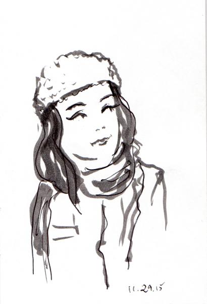 Sketch of woman in knit cap