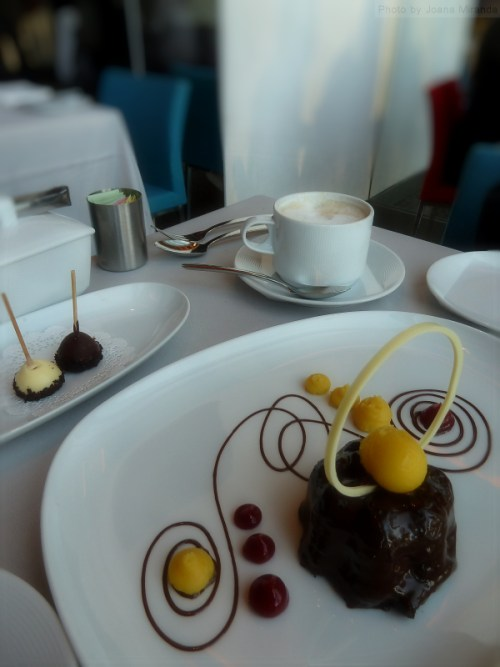 Chocolate passion fruit dessert at Robert Restaurant