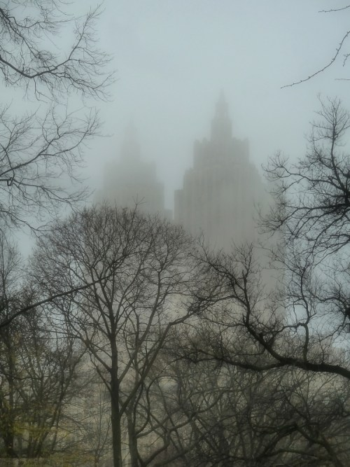 San Remo towers in the fog