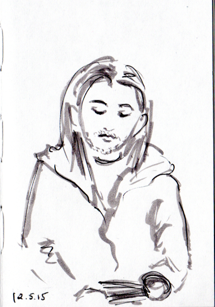 Sketch of man with long hair reading book on the subway
