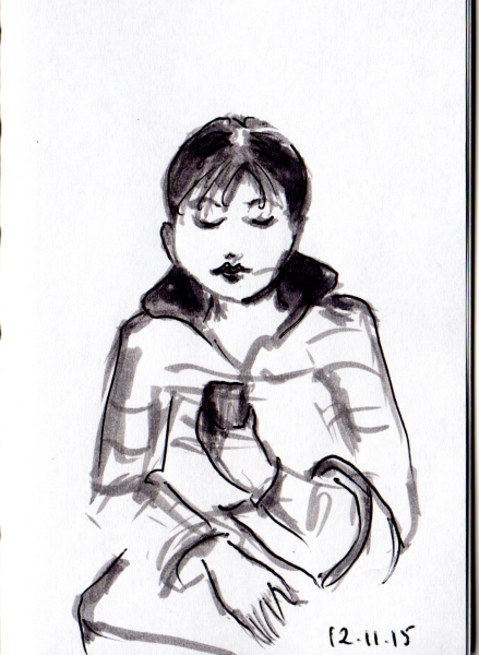 Sketch of woman looking at her cell phone