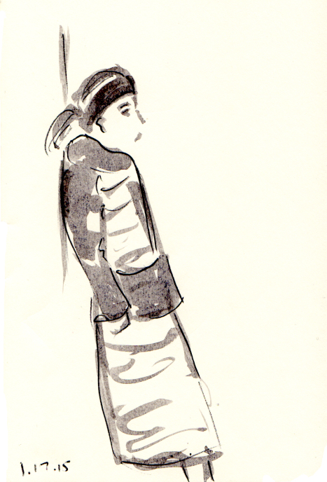 Quick sketch of woman waiting against the subway station wall