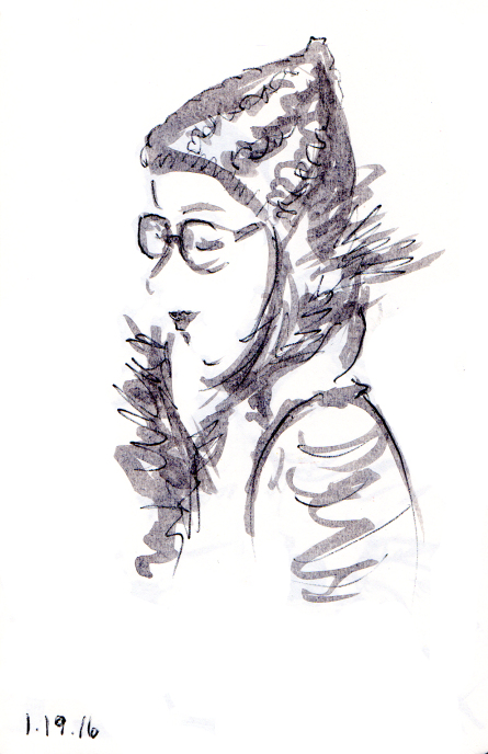 Quick sketch of woman with knit cap and fur scarf