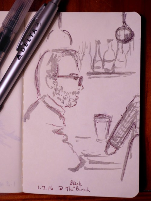sketch of patron at the Black Birch in Kittery, ME