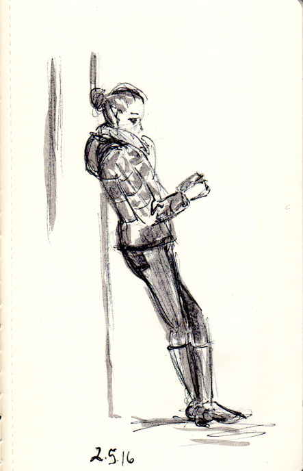 Quick pen and ink sketch of woman leaning against subway wall