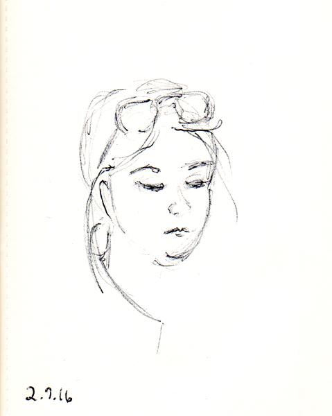 quick pen sketch of woman's face