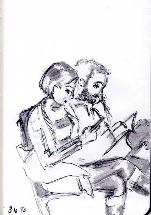 Quick sketch of young couple sitting at Union Station