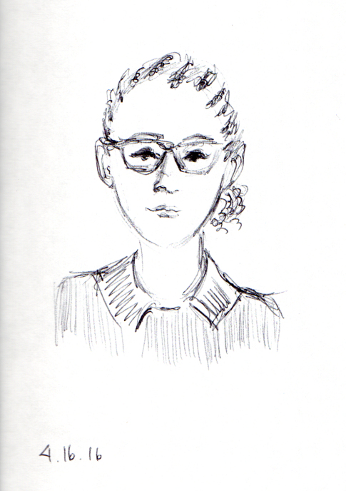 ink sketch of woman with cornrow hairstyle