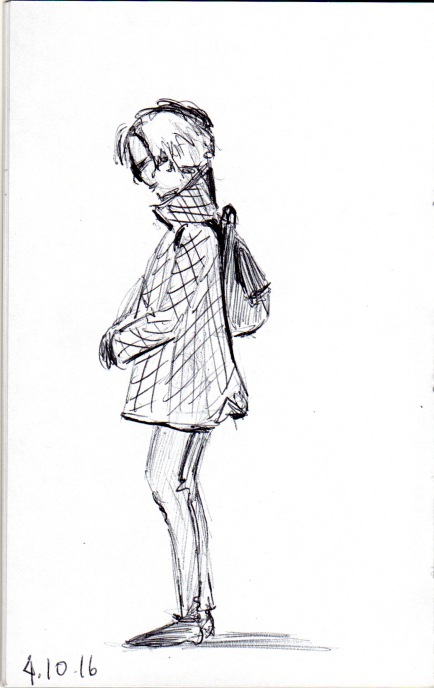 quick sketch of woman in quilted coat