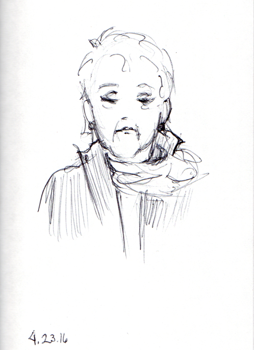 sketch of elderly lady on the subway