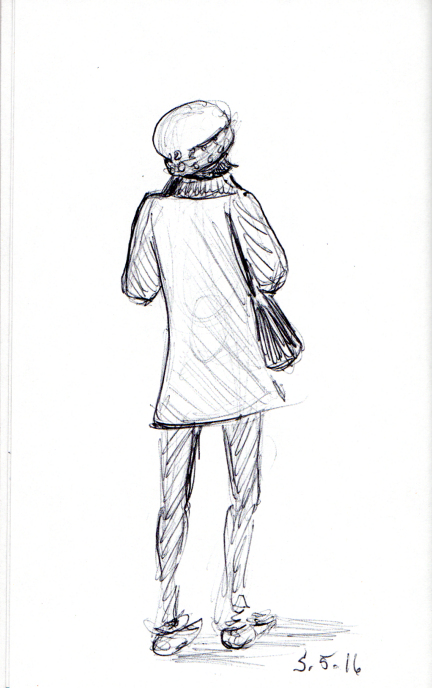 Sketch of woman with studded beret