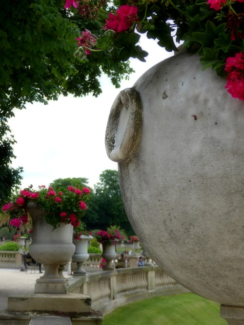 Pots of flowers at the Jardin de Luxembourg
