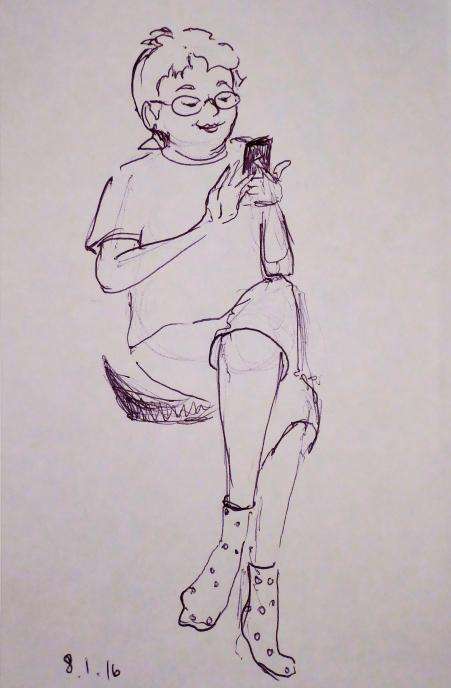 Meh-meh on her phone