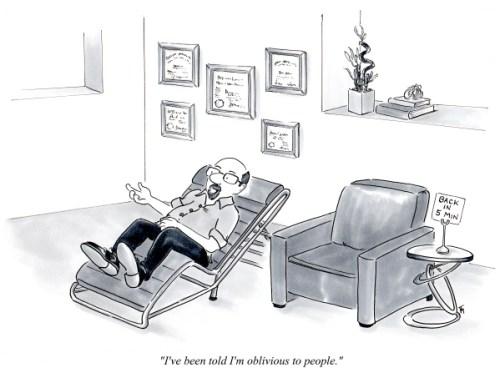 Oblivious therapy office cartoon by Joana Miranda
