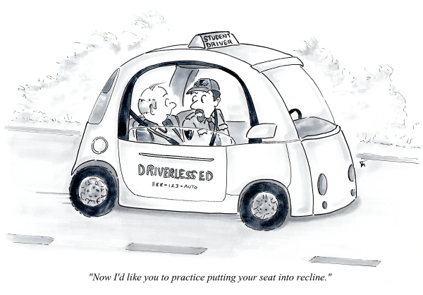 Driverless car cartoon by Joana Miranda