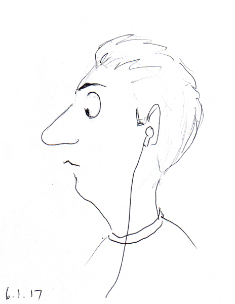 Quick cartoon sketch of man with big nose