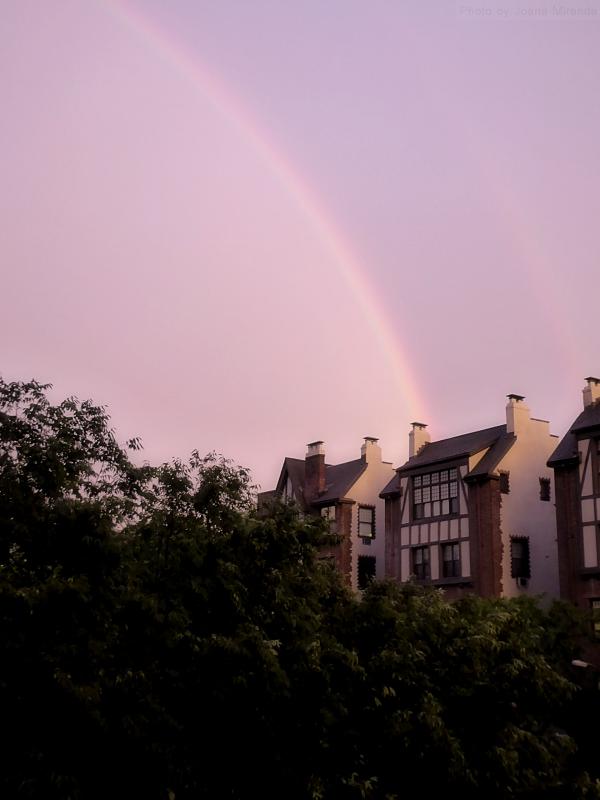 Photo of rainbow over the Upper West Side, taken by Joana Miranda
