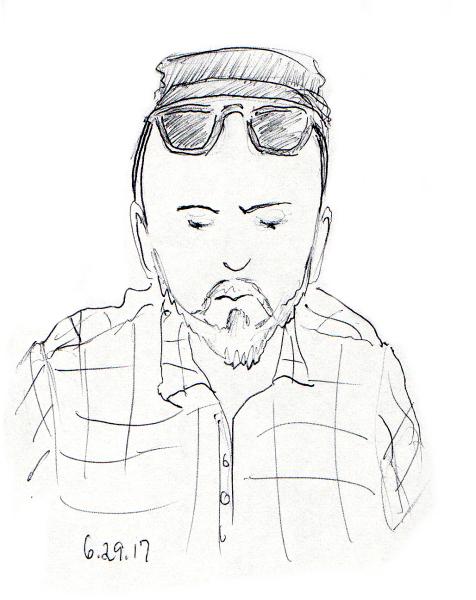 Quick sketch of bald man with beard, hat and sunglasses by Joana Miranda