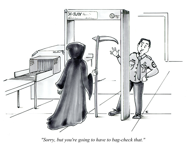 Death and the TSA cartoon by Joana Miranda
