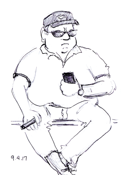 Cartoon pen sketch of portly man smoking a big cigar, by Joana Miranda