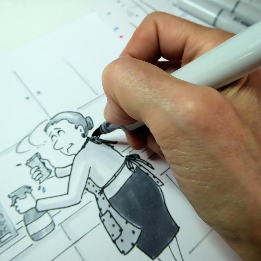Sneak peek at one of the cartoon illustrations for the 2018 Joana Miranda Studio Cartoon Calendar