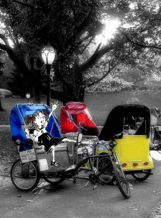 Funny girl cartoon illustration on bike in Central Park, by Joana Miranda