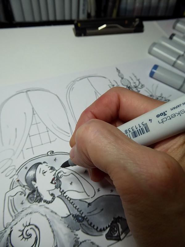 Photo of cartoon illustration in process, by Joana Miranda