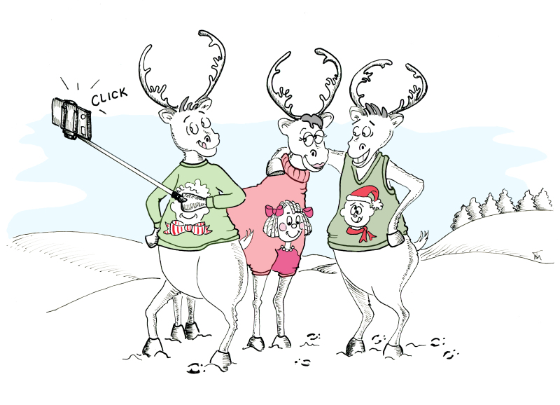 Pen and ink Three Reindeer holiday cartoon and greeting card by Joana Miranda