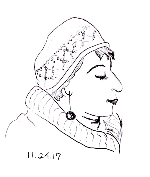 Quick pen sketch of lady with sparkly knit cap, by Joana Miranda