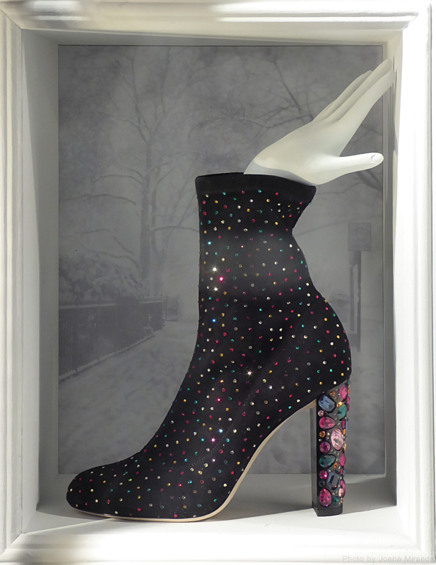 Photo of bootie with colored crystals in 2017 Bergdorf Goodman holiday window display, taken by Joana Miranda