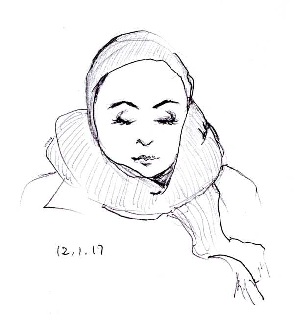 Quick pen sketch of woman with head scarf by Joana Miranda