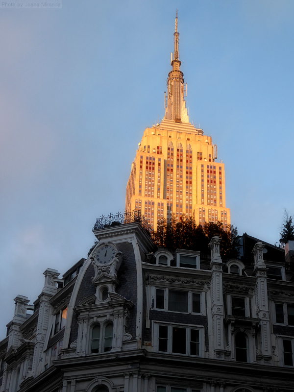 Photo of the Empire State Building in the afternoon sunlight, taken by Joana Miranda