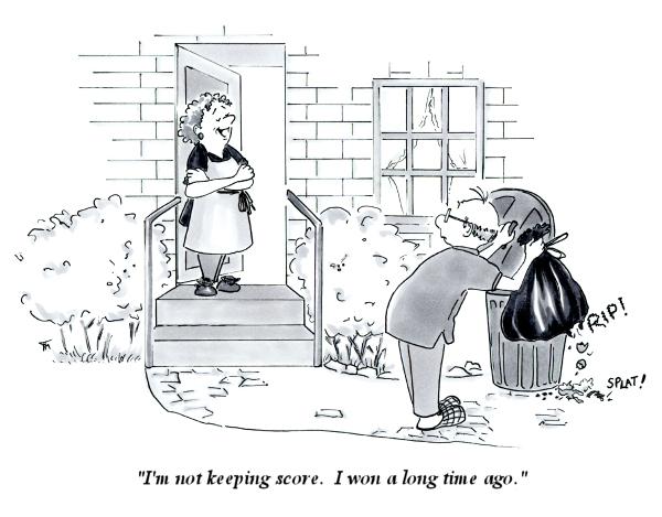 Keeping Score married couple cartoon by Joana Miranda