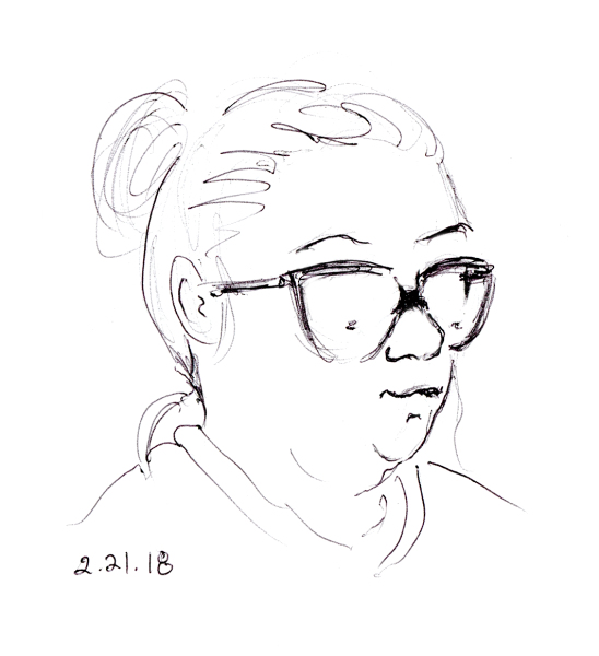 quick pen sketch of woman with sloppy bun
