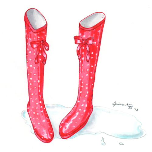 Red rain boots cartoon art by Joana Miranda
