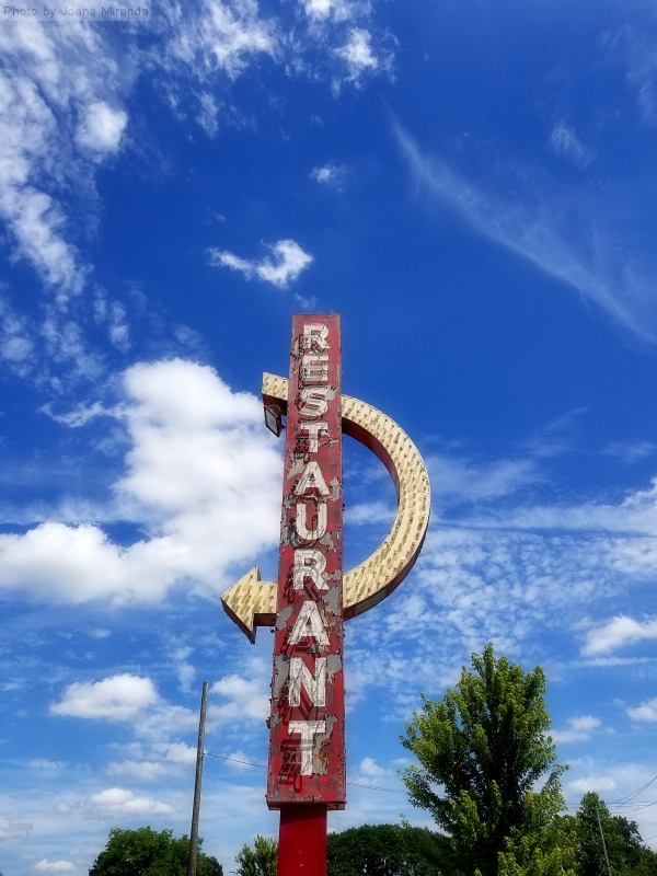 Photo of old retro restaurant sign in Saratoga Springs, NY, taken by Joana Miranda