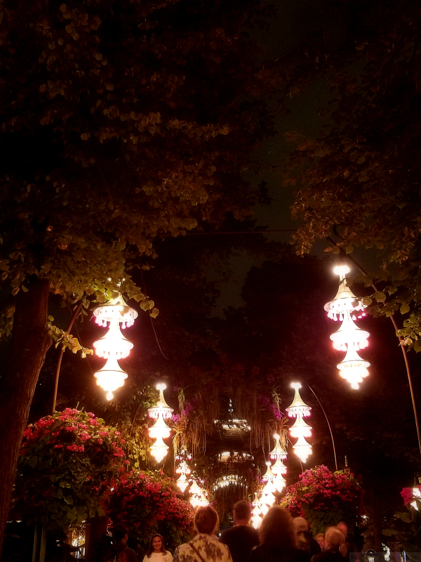 Lanterns over exit at Tivoli Gardens, Copenhagen, Denmark