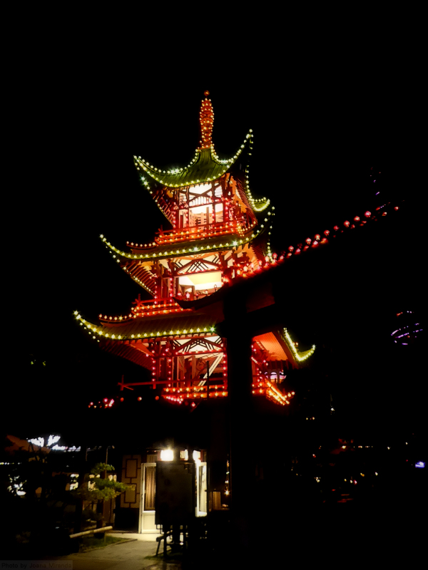 The pagoda at Tivoli Gardens illuminated at night