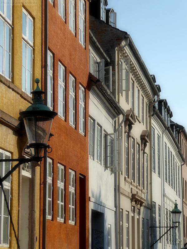 Beautiful street in Copenhagen in the early evening