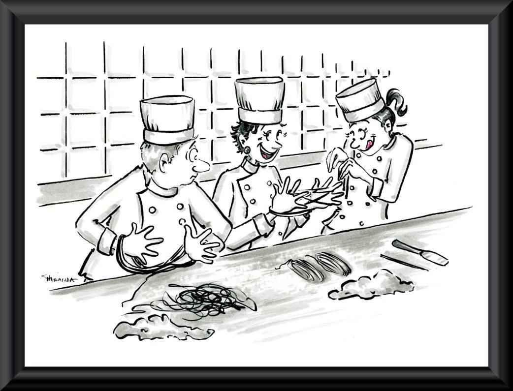 Funny chef cartoon by Joana Miranda Studio