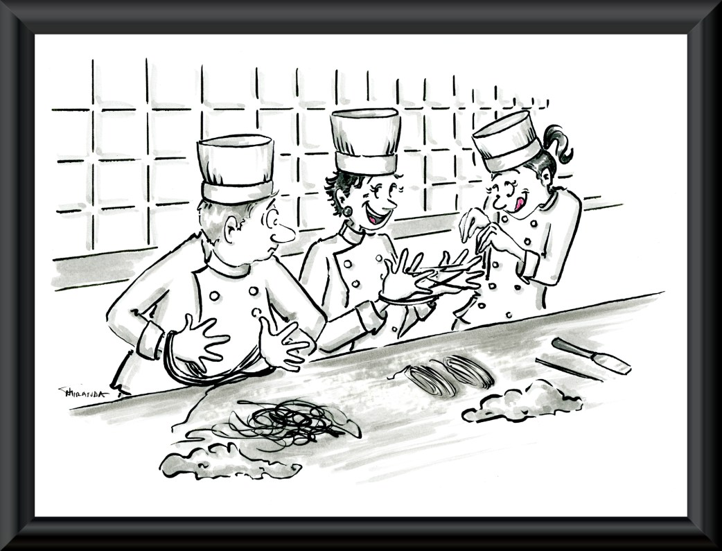 Funny chef cartoon by Joana Miranda Studio