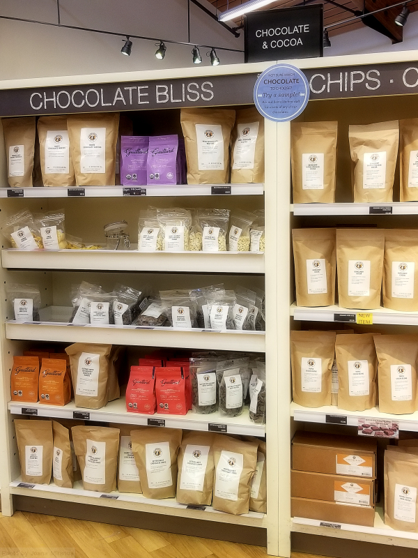 Photo of chocolate and cocoa aisle at King Arthur Flour store.