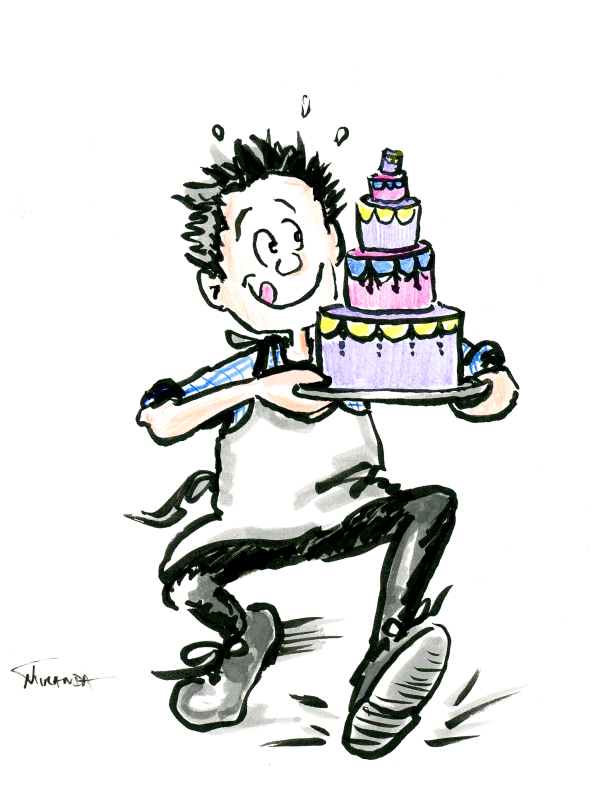 Funny man carrying cake cartoon