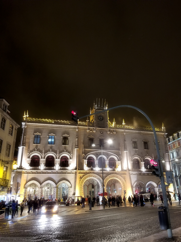 Rossio Train Station at night