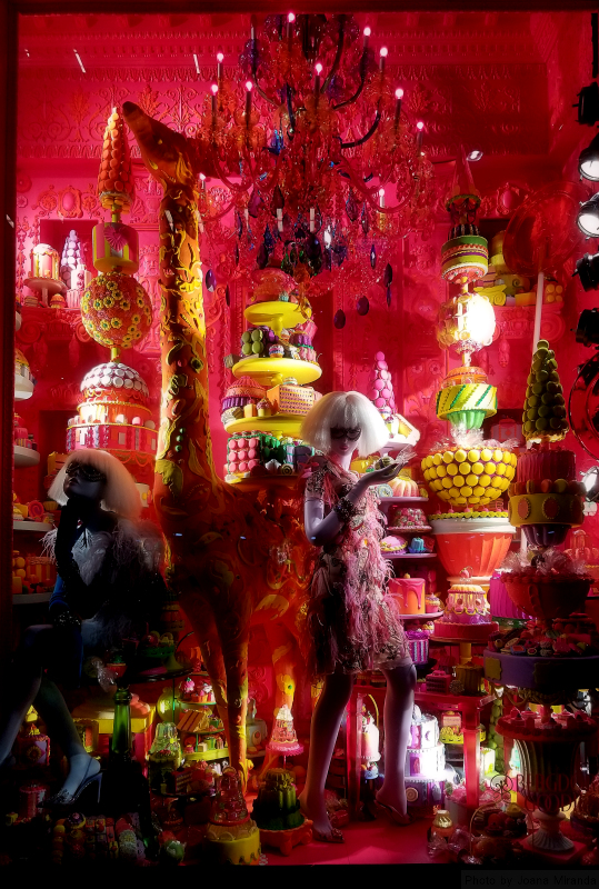 Candy window at 2018 Bergdorf Goodman holiday window displays